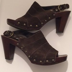 A.N.A brown suede wedge heels open toed size 8